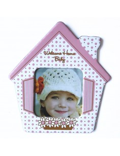 Magnet casa bebe roz insertie foto