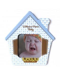 Magnet casa bebe albastru insertie foto
