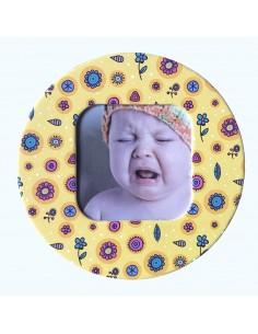Magnet rotund floricele insertie foto