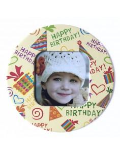 Magnet rotund Happy Birthday insertie foto