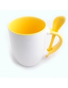 Cana cu lingurita maner interior galben