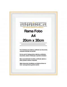Rama foto Barcelona alb+auriu A4