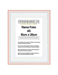 Rama foto Barcelona alb+auriu rose A5