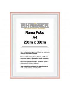 Rama foto Barcelona alb+auriu rose A4