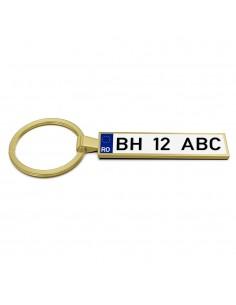 Breloc metalic insertie foto AUTO auriu