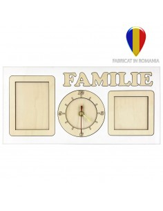 Rama foto lemn colaj - ceas FAMILIE 2 poze