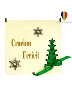 Cutie cu 16 ornamente de brad - lemn