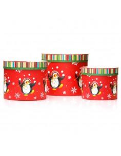 Cutii rotunde Craciun model pinguini - set 3buc