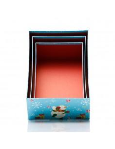 Cutii model om de zapada fericit - set 3 buc