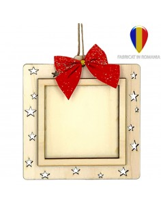 Ornament cu fundita foto lemn patrat