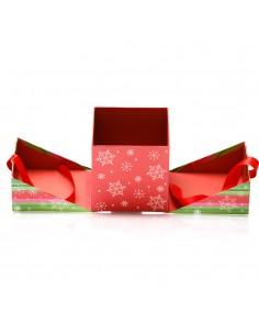 Cutii patrate Craciun verde+rosu - set 2buc