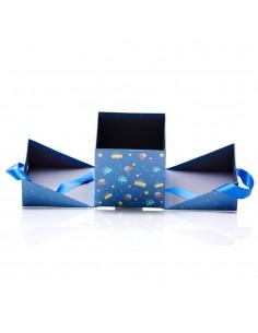 Cutii cu funda patrate Craciun albastre - set 2buc