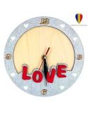 Ceas insertie foto argintiu+rosu LOVE - lemn